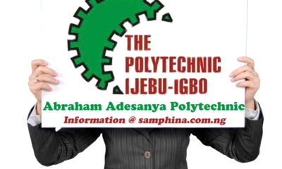 Abraham Adesanya Polytechnic Post UTME Admission Form 2019 | Apply Here