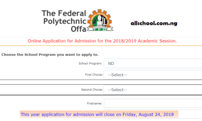 FEDPOFFA Post UTME Admission Form 2019/2020 | Apply Here Online