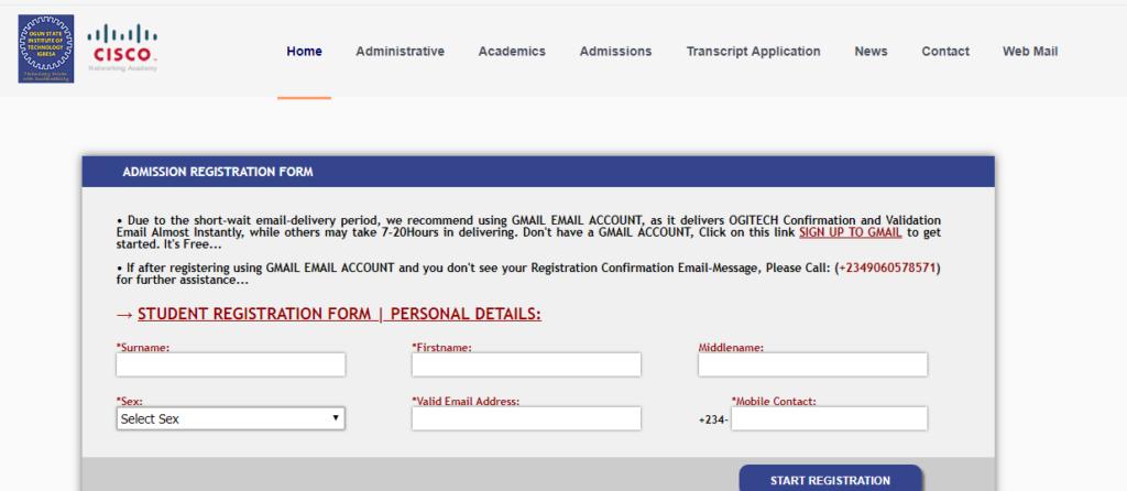 OGITECH Post UTME Screening Form